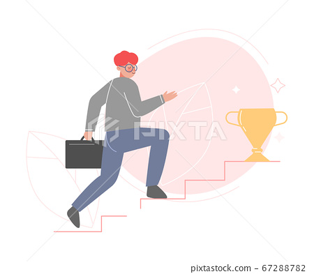Businessmen Running up the Stairs to Success, Career Ladder, Leadership Concept Flat Style Vector Illustration 67288782