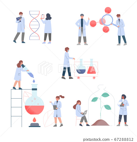 Scientists in Lab, Team of People in White Coat Doing Professional Science and Medical Researchers Flat Style Vector Illustration 67288812