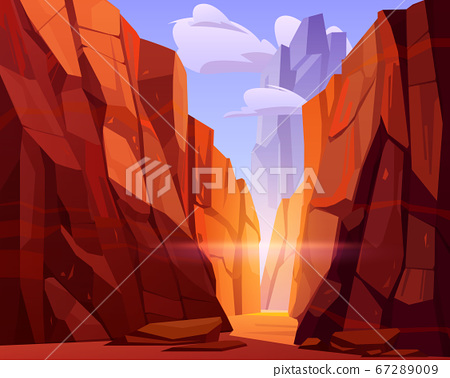 Desert road in canyon with red mountains 67289009