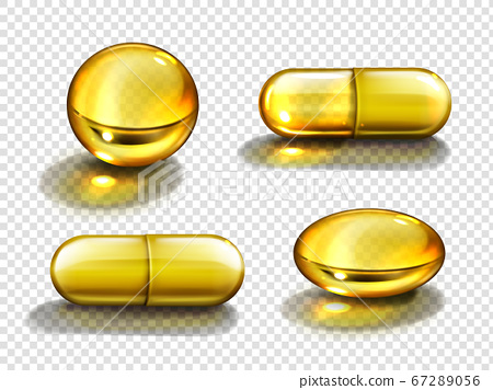 Gold oil capsules, vitamine round and oval pills 67289056