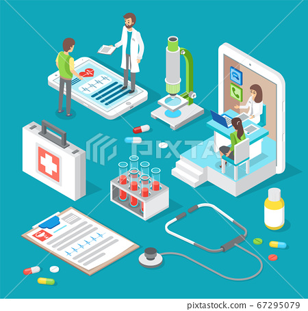Online medical consultation with doctor and medical application concept. Patient consulting a doctor 67295079