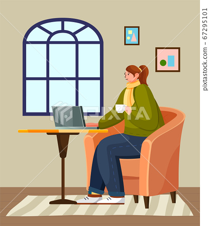 Woman sitting on the round table with laptop at home. Cozy furniture design. Stay home and be safe 67295101