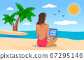 Distant work, woman wearing swimsuit with laptop at beach working near the sea, island with palms 67295146