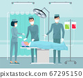 Team of doctors, medical staff, surgeon with scalpel in operating room, patient lying on table 67295150