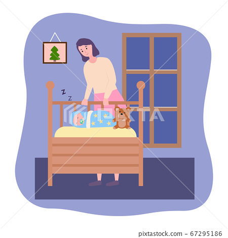 Smiling mother looking at sleeping baby in a crib, happy parent put baby to bed, woman enjoy silence 67295186