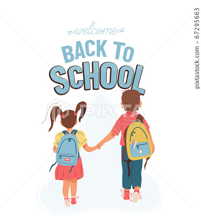 Back to school vector background with greeting text. Little boy and girl go to school for the first time. They hold hands. Children with backpacks illustration isolated on white, back view 67295663