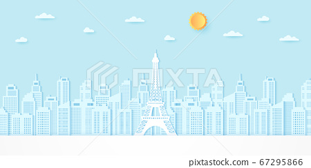 Eiffel tower among buildings with sun and cloud, paper art style 67295866