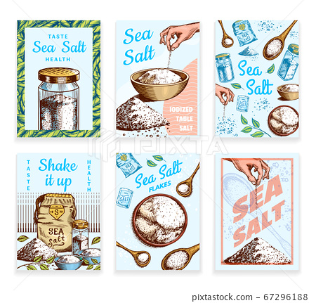 Sea salt posters and banners. Vintage labels. Glass bottles, packaging and and leaves, wooden spoons 67296188