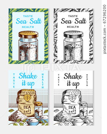 Sea salt posters and banners. Vintage labels. Glass bottles, packaging and and leaves, wooden spoons 67296200