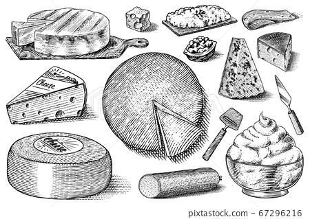 Cheese set. Slices of Mascarpone Bleu de Gex Edam Camembert Mozzarella for market or grocery store 67296216
