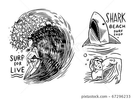 Surf badge. Retro Wave. Vintage Surfer logo. Summer California labels. Man on the surfboard 67296233