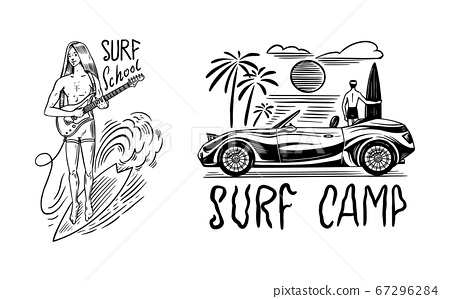 Guy with a Guitar. Surf badge, Vintage Surfer logo. Retro Wave. Summer California. Man on the 67296284