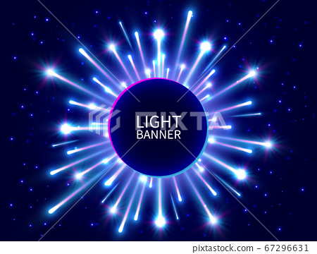 Colorful light banner with glowing rays. Shining 67296631