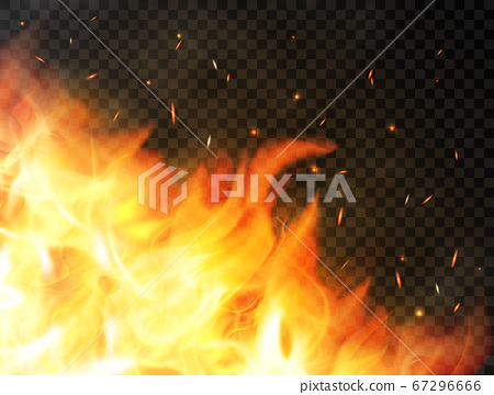 Fire background with flames, red fire sparks, 67296666