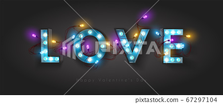 Vintage retro letters with incandescent lamps. 67297104
