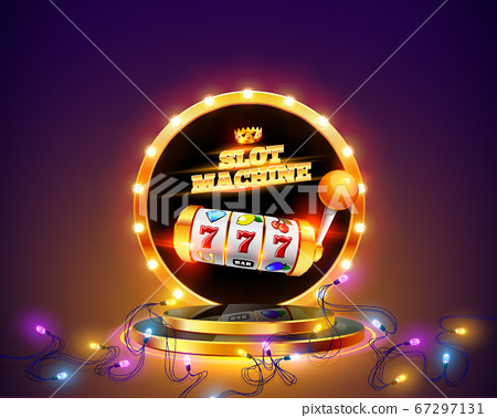 Golden slot machine wins the jackpot. 67297131