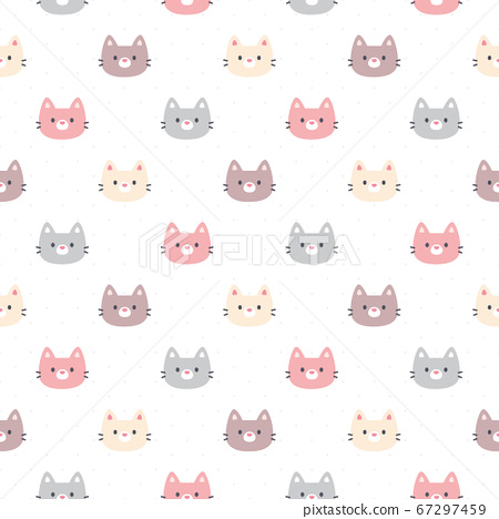 Cute cat seamless pattern background 67297459