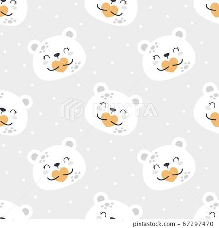 Cute bear planet seamless pattern background 67297470