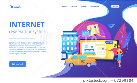 Online booking services concept landing page 67299184