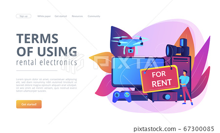 Renting electronic device concept landing page. 67300085