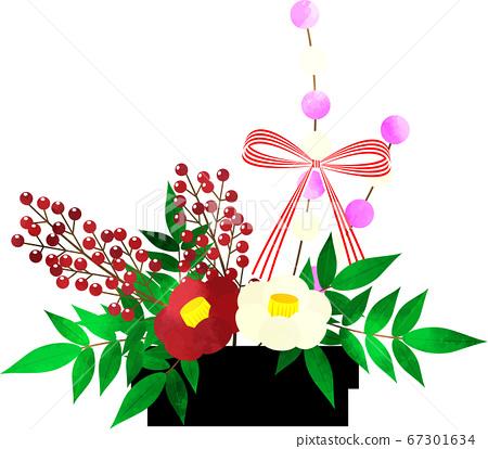 新年材料椿和南天花道插花水彩風格 67301634