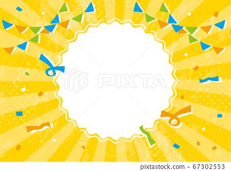 黃色背景與國旗和五彩紙屑 67302553