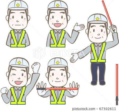 一组面部表情和手势,高级建筑工地警卫,男性,A 67302611