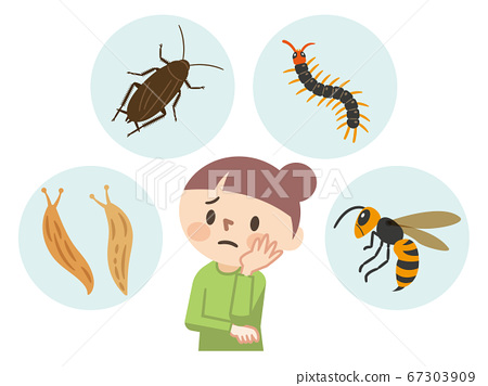 Illustration of a young woman suffering from pests 67303909
