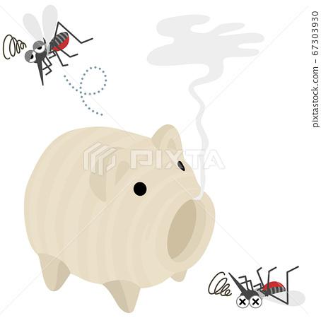 蚊香和弱蚊子的插圖 67303930