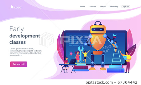 Engineering for kids concept landing page. 67304442