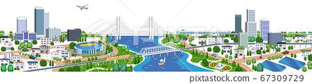 주택과 건물의 거리 풍경 일러스트, 3D 아트 워크 67309729