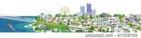 주택과 건물의 거리 풍경 일러스트, 3D 아트 워크 67309769