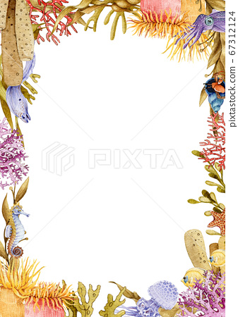 Colorful coral reef watercolor illustration frame. 67312124