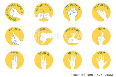 Hand sign icon set 12 types, communication and numbers. 67312688
