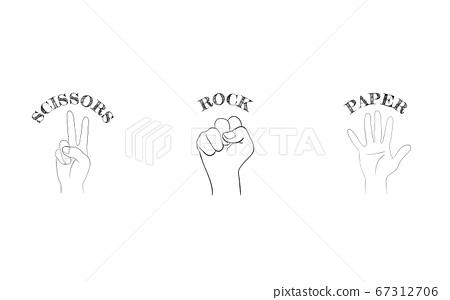 Set of hand sign icons, rock-paper-scissors. Vector illustration 67312706