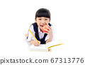 Asian school girl back to school. 67313776