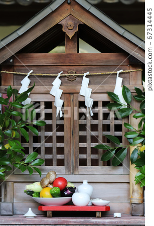 Offerings to the deity in a Japanese Shinto Shrine 67314445