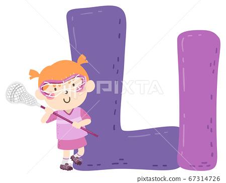 Kid Girl Lacrosse Sport Alphabet Illustration 67314726