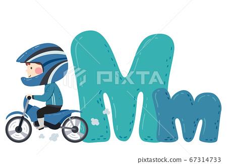 Kid Boy Motocross Sport Alphabet Illustration 67314733