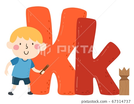 Kid Boy Kubb Sport Alphabet Illustration 67314737