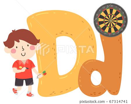 Kid Boy Dart Sport Alphabet Illustration 67314741