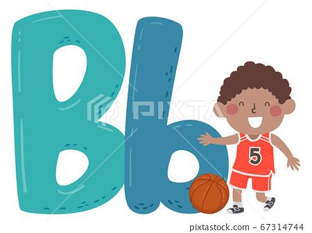 Kid Boy Basketball Sport Alphabet Illustration 67314744