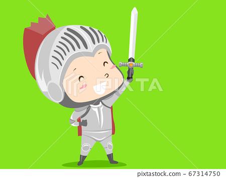 Kid Boy Costume Knight Green Screen Illustration 67314750