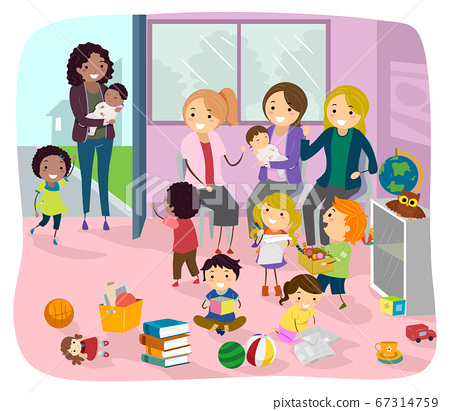 Stickman Mom And Baby Play Group Illustration 67314759