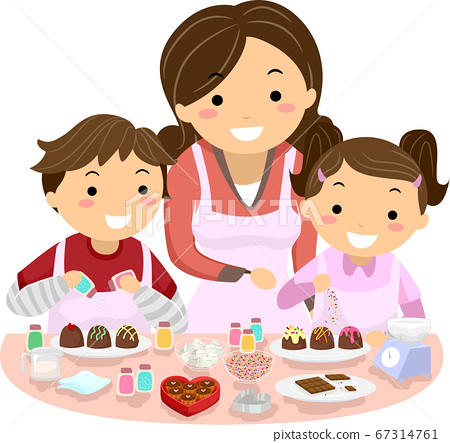 Stickman Kids Mom Decorate Chocolates Illustration 67314761