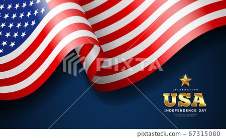 American flag waving, independence day banner design, on dark blue background 67315080