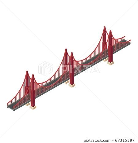 Red wire bridge icon, isometric style 67315397