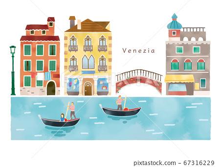 이탈리아의 세련된 도시와 운하의 일러스트 세트 67316229