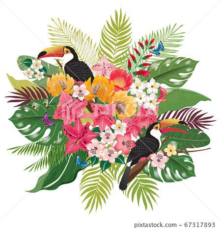 Vector illustration of tropical flowers in summer with birds and butterflies for wedding, anniversary, birthday party. Design for banner, poster, card, invitation and scrapbook 67317893