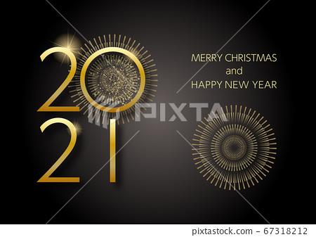 2021聖誕賀卡金色閃光和煙花圖像黑色背景 67318212